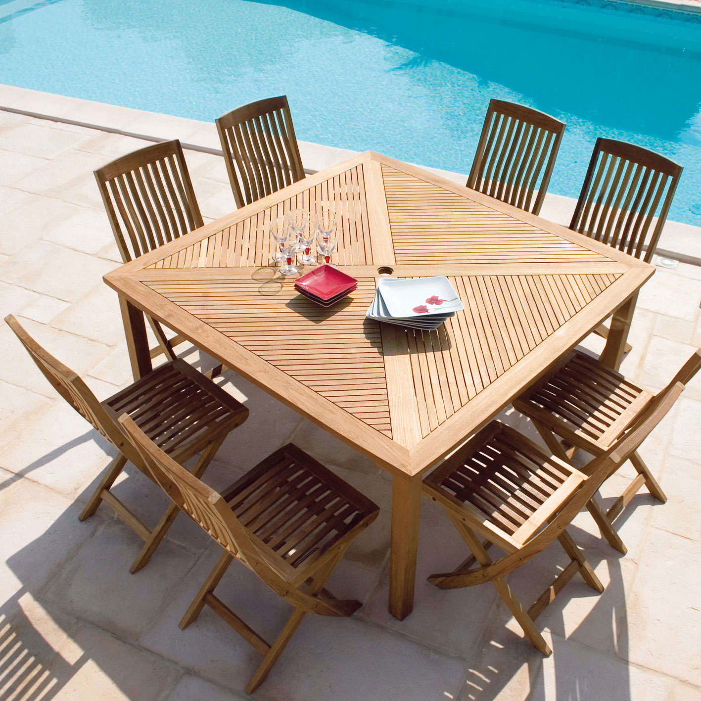 Prendre soin de sa table en teck maison jardin for Table de jardin carree